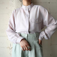 Stand Collar Striped Blouse LGR PI