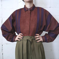 Wool×Suede Round Collar Stripe Blouse BR
