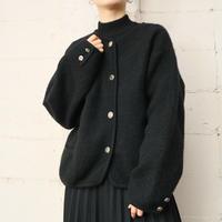 Collarless Wool Jacket BK