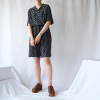 Small Pattern Short Sleeve Jumpsuit NV