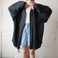 Open Collar Rayon Big Shirt BK