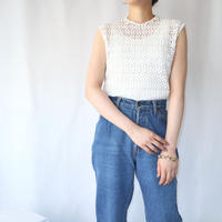 60'sEURO Flower Lace Sleeveless Blouse WH