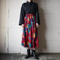 Leaf Pattern Gather Flared Skirt REBLYE