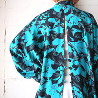 Back Open Flower Pattern Shirt BLBK