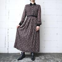 Paisley×Shirring Velour Collar Dress BK