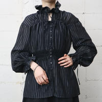 String Shirring Stripe Blouse BK