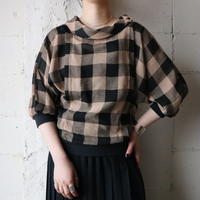 Plaid Stand Collar Blouse BEBK