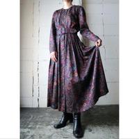Botanical Pattern Collarless Dress BK GR RE