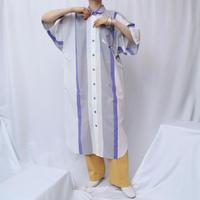 Big  Silhouette Stripe Shirt Dress PURGRWH