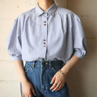 Puff Sleeve Stripe Shirt BLWH