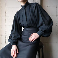 Stand Collar Pleated Blouse BK
