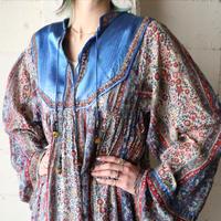 1960~70's Vintage Indian Cotton Dress BLRE