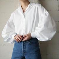 Volume Sleeve Open Collar Shirt WH