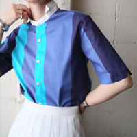 Wing Collar  Stripe  Shirt BL