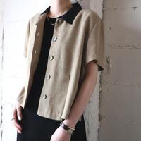 Bicolor Design Linen Shirt Jacket BEBK
