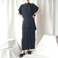 Pleated Peplum Design Dress BK