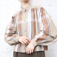 Stand Collar Plaid Blouse BE