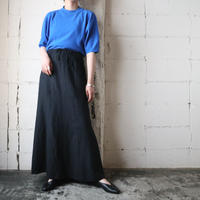 Drawstring Linen Long Skirt BK