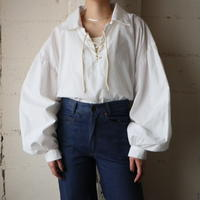 Volume Sleeve Lace up Blouse WH