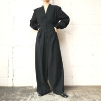 Pleated Wool Jumpsuit BK