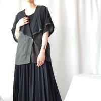 Seethrough × Linen Big Collar Blouse BK