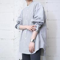 Band Collar Shirt Stripe BLKAWH