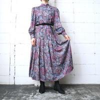 Flower Pattern Stand Collar Dress GRPI