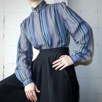 Vintage Stripe Stand Collar Blouse BL
