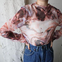 Marble Pattern Sheer Tops PI BR