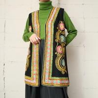 Flower Embroidery Vest BK YE GR