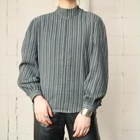 Stripe Stand Collar Blouse GRBK