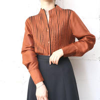 Pleated Stand Collar Blouse OR