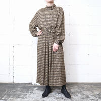 Small Pattern Stand Collar Dress BKBE