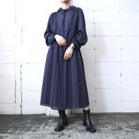 Raffled Collar Stripe Dress PURBL
