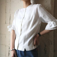 Collarless sleeve Flared Blouse WH
