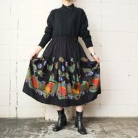 Fruit Pattern Flared Skirt BK
