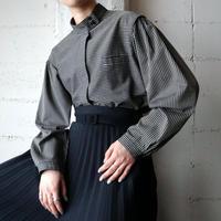 Stripe Stand Collar Blouse GR BK