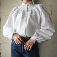70's EURO Tuck×Cut Work Lace Blouse WH