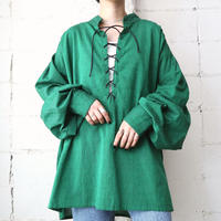 Lace Up Volume Sleeve Blouse GR
