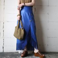 Leather Fringe Tight Skirt BL