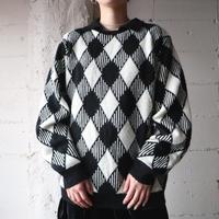 Lattice  Check Sweater BKWH