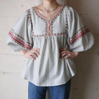 Stripe×Embroidery Blouse WHNV