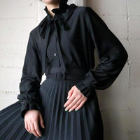 Frilled&Ribbon Collar  Blouse BK