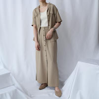 Open Collar Blouse & Front Button Skirt Set Up BE
