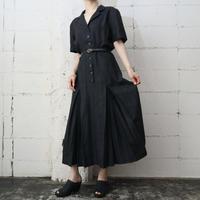 Linen Open Collar Short Sleeve Dress BK
