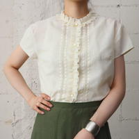 70's Tuck Frill × Lace Blouse IV