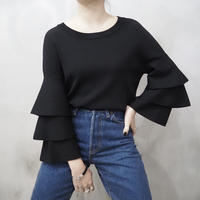 Tiered Sleeve Knit BK