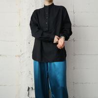 LAUREN Pullover Stand Collar Linen Shirt BK