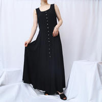 Many Button Sleeveless Dress BK