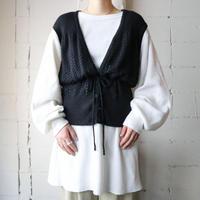 Drawstring Knit Vest BK